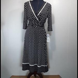 Studio I vneck polka dot midi dress